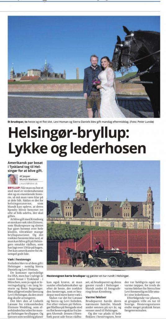 Elsinore Wedding in Newspaper